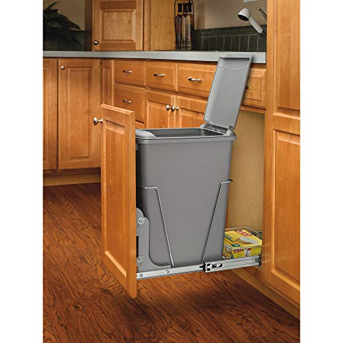 Rev-A-Shelf RV-12KD-17C S 35 Quart Pull Out Waste Container with Basket, Silver (Kitchen Garbage Can Under Sink)