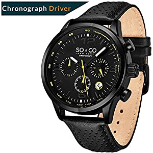 """So&Co NY """"Trambusto"""" – Sport, Leather Drivers Watches for Men – Chronograph and Tachymeter, Accessories"""