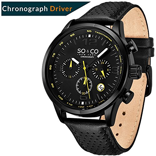 """Sport, Leather""""Monticello"""" Drivers Watches for Men- So&Co NY – Chronograph and Tachymeter."""