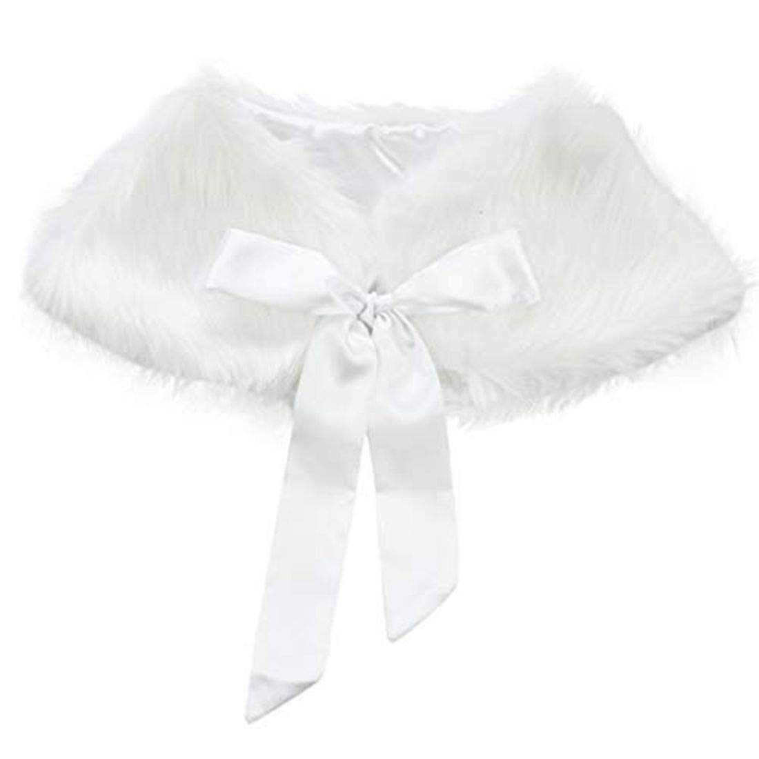 Agoky Girls Princess Faux Fur Shrug Shoulder Cape Shawl Warm Bridesmaid Party Shawl Stole Shrug