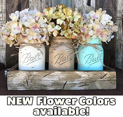Mason Canning JARS & Wood ANTIQUE WHITE Tray Spring Centerpiece with 3 Ball Pint Jar -Kitchen Table Decor Distressed Rustic (Flowers Optional) -CREAM, COFFEE, SEAFOAM Painted Jars (Pictured) ()