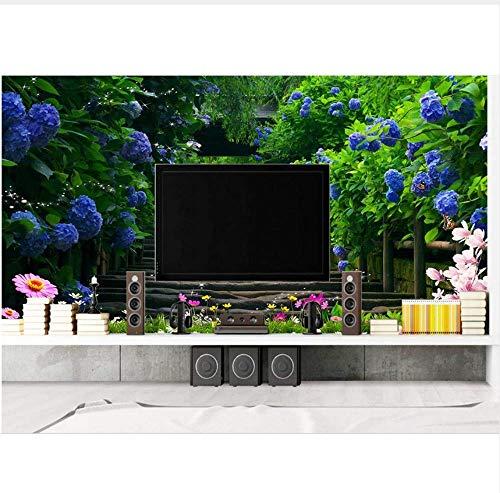 (ATR 3D Murals Wallpaper for Living Room Wallpaper Flower Vine Blue Rose Path 3D Photo Wallpaper, 260X180Cm (102.36X70.87)