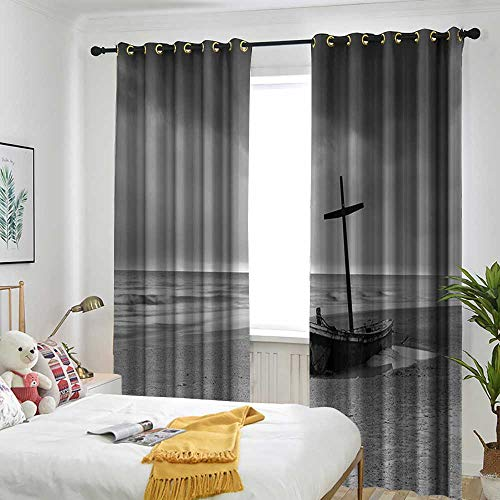 Ocean Decor Curtains for Living Room Wreck Small Stranded Boat on Seaside Snow Clouds Windy Day Wave Picture Room Darkening, Noise Reducing 108
