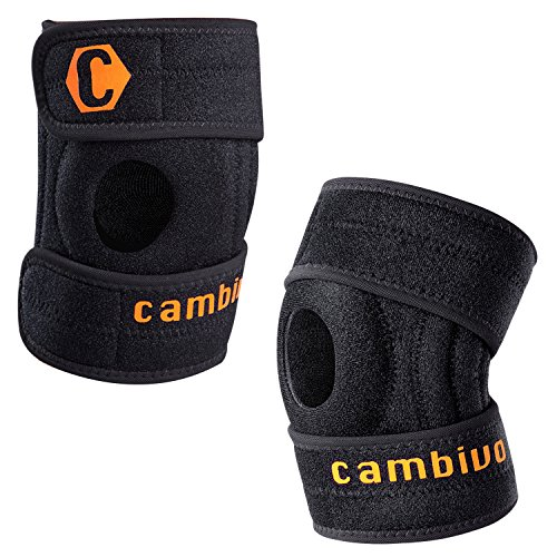 Cambivo 2 Pack Knee Brace, Knee Sleeve, Best Adjustable Support for Running, Athletic Sports, CrossFit, Arthritis, ACL injury, Meniscus tear, Open Patella Design, Relieving Pain (2 PACK)