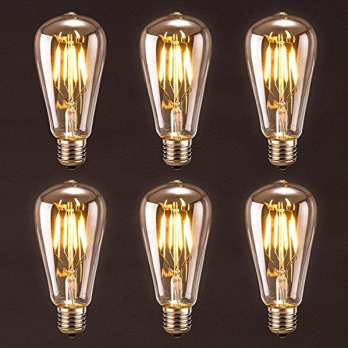 Antique LED Bulb,Oak Leaf 4W ST64 Vintage Antique Style Edison Bulb LED Light,2700K,SoftWhite,E26 (E27) Screw Base...