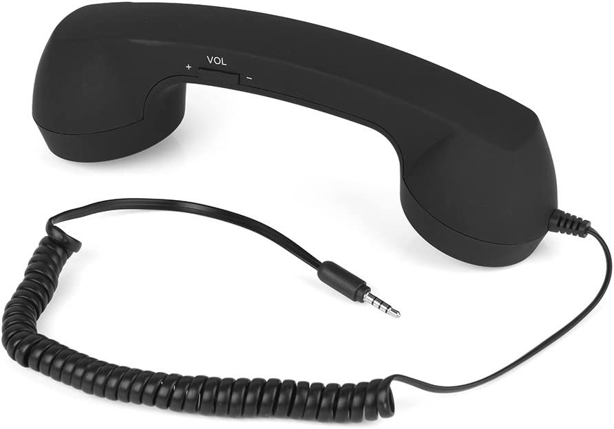 Retro Handset, Anti-Radiation Vintage Wired Telephone Phone Call Receiver 3.5mm Cell Phone Handset with Mic for Smartphones and Computers(Black)