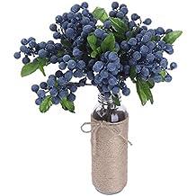 Foerteng 10pcs/pack Decorative Artificial Flowers Blueberry Fruit Berry Silk Fruits Flowers For Wedding Home Decoration Artificial Art Plants