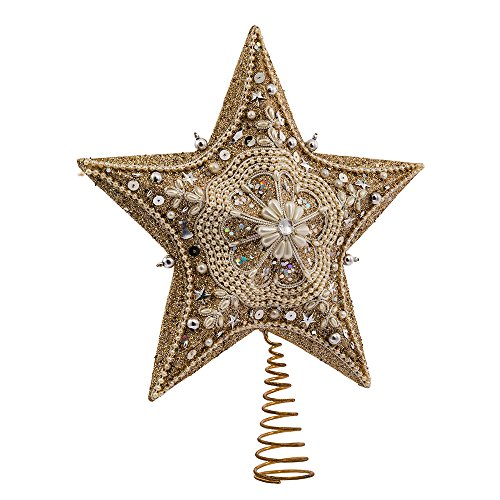Kurt Adler 135inch Star Treetop with Ivory Pearls and Platinum Glass Glitter