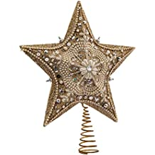 Kurt Adler 13.5-inch Star Treetop with Ivory Pearls and Platinum Glass Glitter