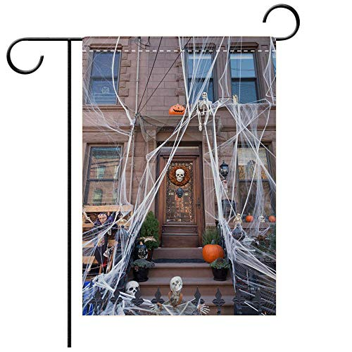 BEICICI Custom Personalized Garden Flag Outdoor Flag Hoboken Brownstone Decorated for Halloween in October 2017 Decorative Deck, Patio, Porch, Balcony Backyard, Garden or Lawn ()