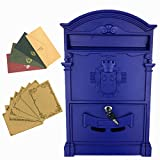 Yahead Outdoor Mailbox Retro Vintage European Aluminum Wall Mounted Mail Box Post Box Secure Letterbox Outside Mailboxes with 8pcs Retro Writing Stationery Paper and 4pcs Envelopes
