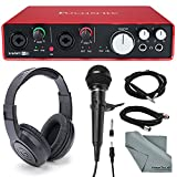 Focusrite Scarlett 6i6 USB Audio Interface and Accessory bundle with Samson Stereo Headphones + Cables + Samson Handheld Microphone + Microphone Stand Clip