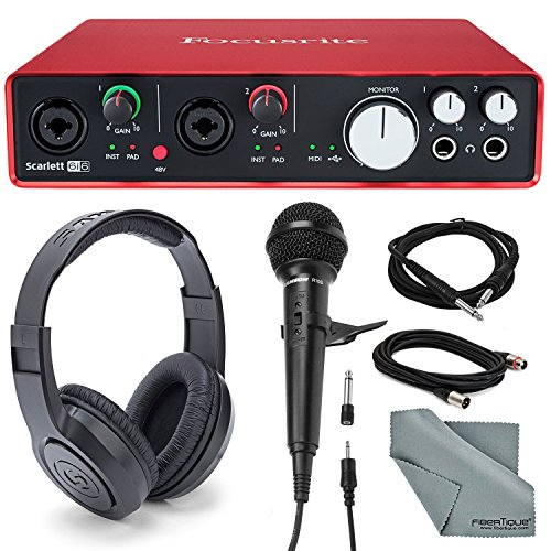 Focusrite Scarlett 6i6 USB Audio Interface and Accessory bundle with Samson Stereo Headphones + Cables + Samson Handheld Microphone + Microphone Stand Clip by Focusrite