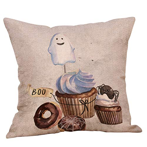 GOVOW Halloween Pillow Cases for Boys Bedroom Linen Sofa Pumpkin Ghosts Cushion Cover Home Decor