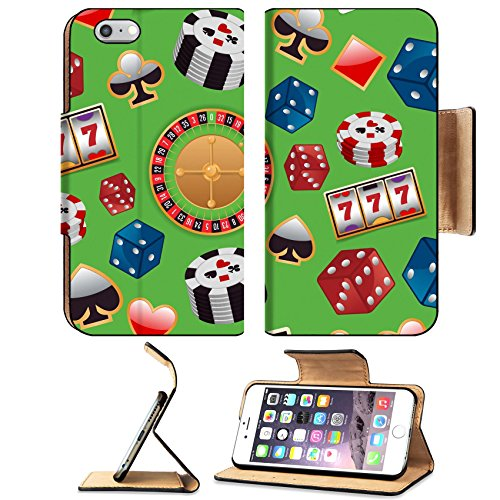 Luxlady Premium Apple iPhone 6 Plus iPhone 6S Plus Flip Pu Leather Wallet Case iPhone6 Plus IMAGE ID: 32133186 Casino color design elements with gambling poker roulette seamless pattern vector illustr