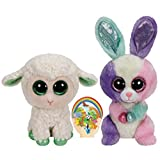 Ty Beanie Boos Green Lamb Lala and Colorful Bunny Bloom gift set of 2 Plush Toys 6-8 inches tall by Ty