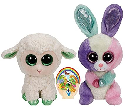 975ca42fff8 Amazon.com  Ty Beanie Boos Green Lamb Lala and Colorful Bunny Bloom ...
