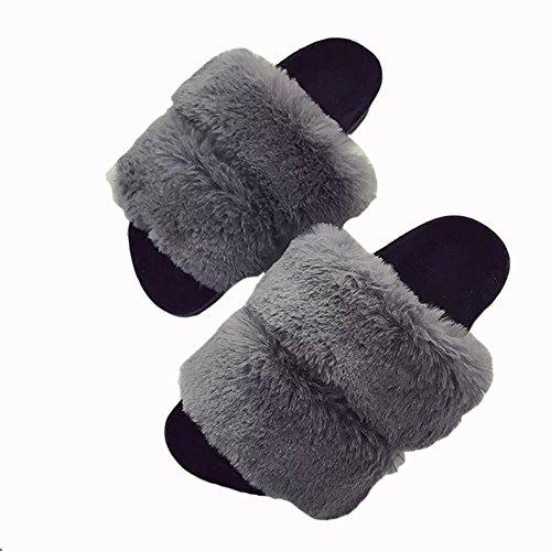 Slippers Mavirs On Gray Indoor Fashion Slip Soft Fur Slides Flat Women's amp; Slippers Sandals Outdoor AAqB5