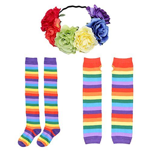 JINSEY Womens Rainbow Striped Knee High Socks and Gloves Costumes with Flower (Rainbow Brite Costume Kids)