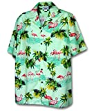 Pacific Legend Men's Flamingos Hawaiian Shirt, Sage, M