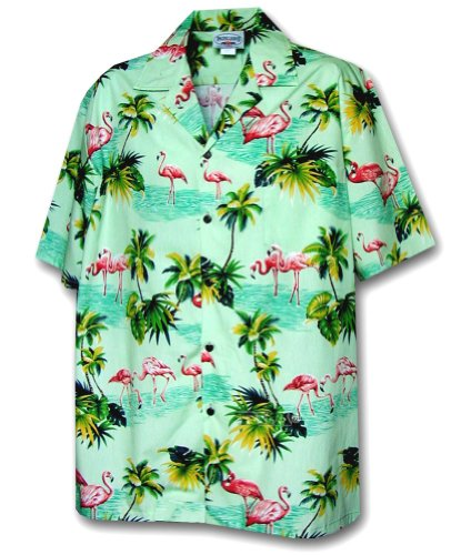 Flamingos Hawaiian Shirt, Sage (S) -