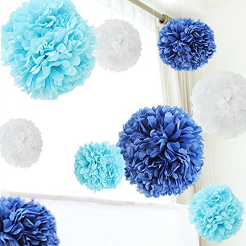 Sham Costume Wow (10'' Tissue Paper Pom Poms Flower Ball Xmas Party Wedding Baby-shower Home Decor (White, Blue, Light)