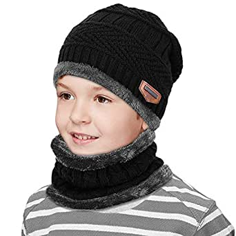 ZIQIAN Kids Winter Snow Knitted Beanie Hat Circle Scarf Set Slouchy Warm Outdoor Sports Hat Sets (Black)