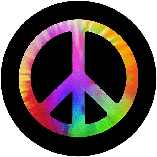 Peace Sign Tie Dye Spare Tire Cover for 215/75r14 Jeep RV and more (Select from popular sizes in drop down menu or contact us-ALL SIZES AVAILABLE)
