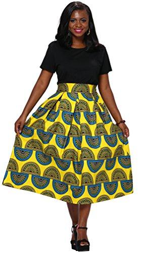 Shenbolen Women African Traditional Costume Flower Print Casual Dashiki Dress (Medium, A)