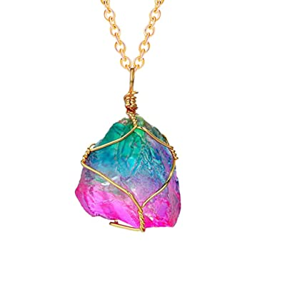 b9e28f42aa83 FANSING Joyería Arco Iris Irregular Cuarzo Piedra Colgante Collar de Piedras  Preciosas de Cristal curativo para