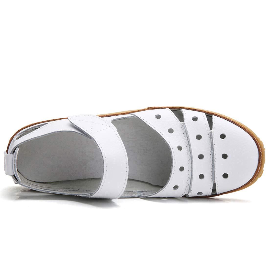 Z.SUO Sandales Femmes Plates Cuir Casuel Confort Mocassins Chaussures de Conduite La Mode /Ét/é Chaussures de Marche Sandales