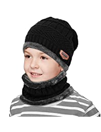 Kids Winter Snow Knitted Beanie Hat Circle Scarf Set Slouchy Warm Outdoor Sports Hat Sets (Black)