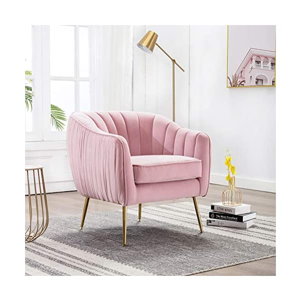 Superb Altrobene Modern Luxury Accent Barrel Chair Velvet Living Room Armchair With Gold Finished Legs Pink Bralicious Painted Fabric Chair Ideas Braliciousco