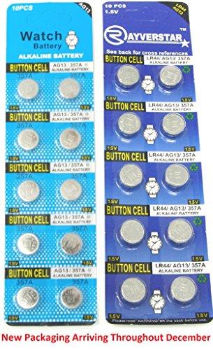 Rayverstar LR44/AG13 1.55 Volt Alkaline Battery, 20 Batteries. Replaces: A76, L1154, LR1154, 357A, 157, 303/357, SR44, SR44SW, EPX76, PX76, PX76A, Button Cell