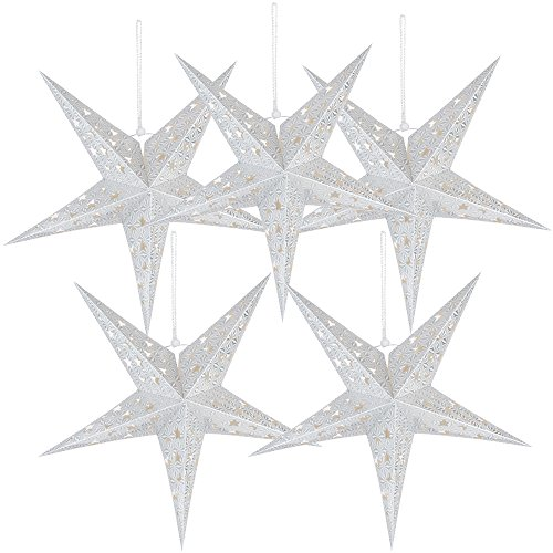 5 Packs 20 Paper Star Lantern Lampshade Hanging Christmas Xmas Day Decoration for LED Light Wedding Birthday Party Home Decor Hollow Out Design(Lights not Included) (Silver)