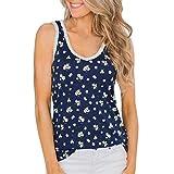 TWGONE Flower Shirts for Women Tank Top Summer Vest Sleeveless V Neck T-Shirt(X-Large,Navy)