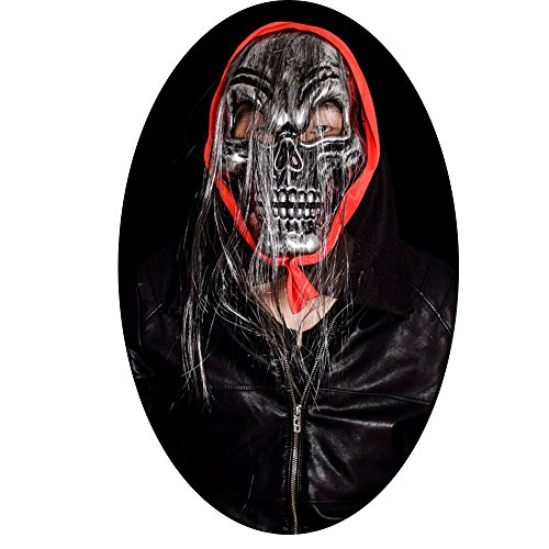 Adult Zorro Bandana With Mask (Scary Death Skull Mask Halloween Silver Skull Long Hair Mask for Cosplay costume)