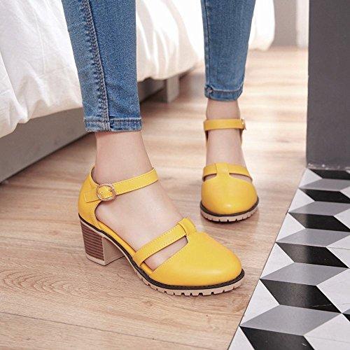 MissSaSa Damen ankle-Strap Chunky heel T-Spange Pumps Gelb