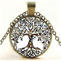 Vintage Retro Tree of Life Glass Cabochon Pendant Bronze Chain Necklace Jewelry