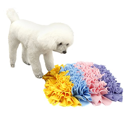 "Pidsen Dog Snuffle Mat Feeding Mat Training Mat Nosework Blanket Pet Play Toy Encourages Natural Foraging Skills- Perfect for Any Breed(17""X17"") ()"