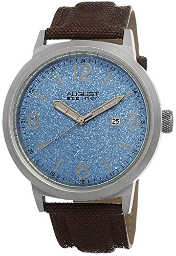 August-Steiner-Mens-AS8088BU-Blue-Dial-Stainless-Steel-Brown-Canvas-Strap-Watch