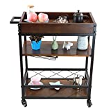 LEONYU 3 Tier Mobile Kitchen & Bar Serving Cart with Two Locking Casters, Wood and Metal, shipping from US