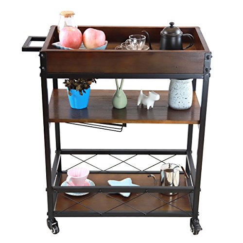 LEONYU 3 Tier Mobile Kitchen & Bar Serving Cart with Two Locking Casters, Wood and Metal, shipping from US by LEONYU