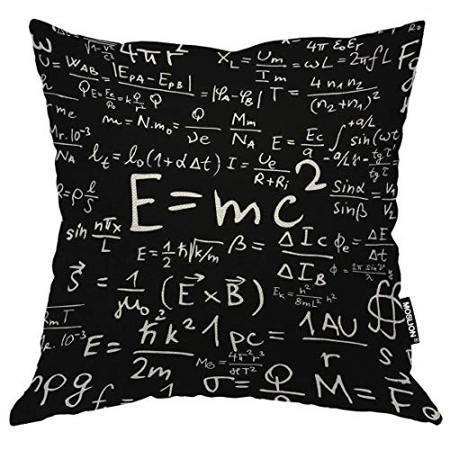 Moslion Cotton Linen Decorative Throw Pillow Covers, Fun Physics Phenomena E=mc2 Pillow Cases Cushion Cover for Sofa Bedroom Livingroom Camping Car Pillow Sham 20x20 Inch (E Mc2 Pillow)