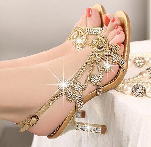 Chaussures Femmes Plat CYGG Lumineux Fête En Strass Sandales golden De Cuir Femmes Mode Mariage Chaussures De Szzq1