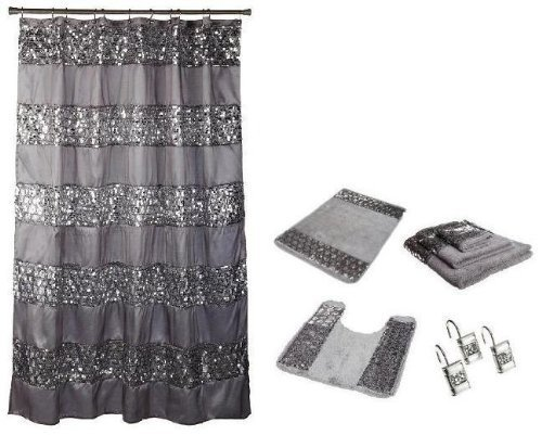 Popular Bath 7 Piece Sinatra Silver Shower Curtain, Resin Hooks, Towels and Rugs Set