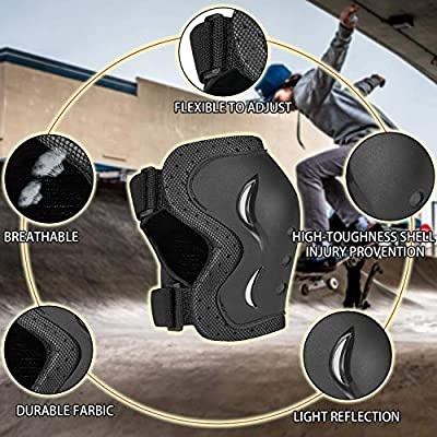 skybulls Adult Youth Child Knee Pads Elbow Pads Wrist Guards, [6Pack] Knee Elbow Pads Protective Gear Skateboard Pads Set for Skates, Skateboarding, Roller Blading, Bike, Inline Skating and Scooters : Sports & Outdoors