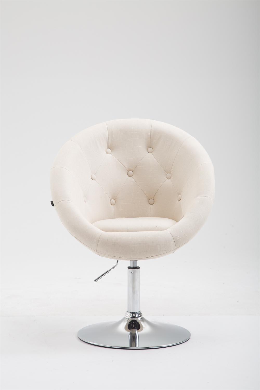 CLP Butaca de Salón London V2 en Tela I Silla Lounge Giratoria & Regulable en Altura I Sillón-Taburete Moderno I Color: Crema