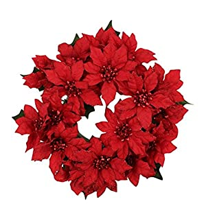 7.5-inch (3-inch Inner Ring) Artificial Poinsettia Candlering Candle Ring Red 101