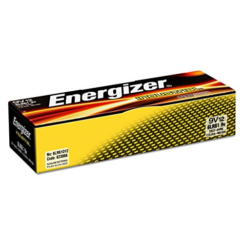 Energizer EN22 Industrial Alkaline Batteries, 9V, Box of 12